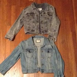 3/4 sleeve Cropped distressed denim jackets 2pcs